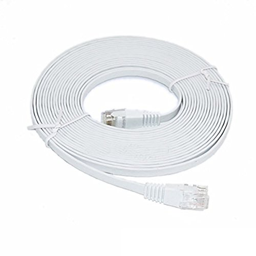 C&E 35 Feet, Premium Ultra CAT6 550 MHz Flat Patch Cable, White 2 Pack