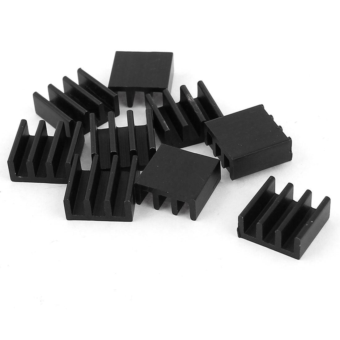 10 Pieces Black Aluminum Cooler Radiator Heat Sink Heatsink 11mm x 11mm x 5mm