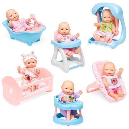 Best Choice Products Set of 6 Mini Baby Dolls Toy w/ Cradle, High Chair, Walker, Swing, Bathtub, Infant - Dolly Seat