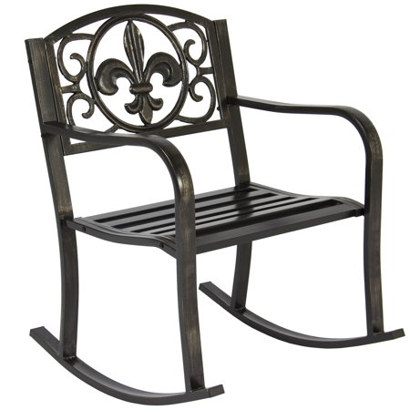 - Best Choice Products Metal Rocking Chair Seat for Patio, Porch, Deck, Outdoor w/ Scroll Design - Bronze