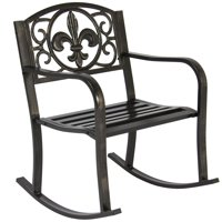 Product Image Best Choice Products Metal Rocking Chair Seat For Patio Porch Deck Outdoor W