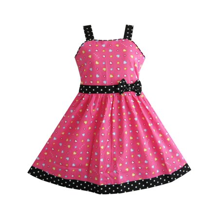 Girls Dress Heart Print Pink Children Clothes Christmas Gift 4-5