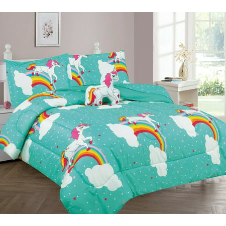 TWIN KIDS, TODDLER BED IN BAG 6PC COMFORTER PRINT DESIGN HORSE PONY UNICORNE BLUE REVERSIBLE , WARM, SUPER SOFT CHARMING 1 COMFORTER,+ MATCHING SET SHEET , 1 PILLOWCASE, 1 FRIENDLY TOY Eco Friendly Comforter