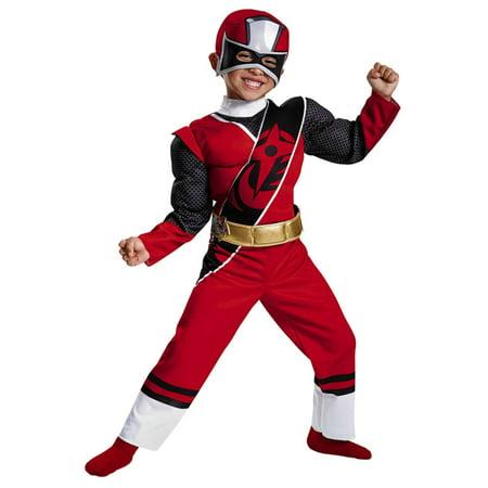 Toddler Boys Power Rangers Ninja Steel Red Ranger Muscle Costume 2T (Power Ranger Toddler Costume)