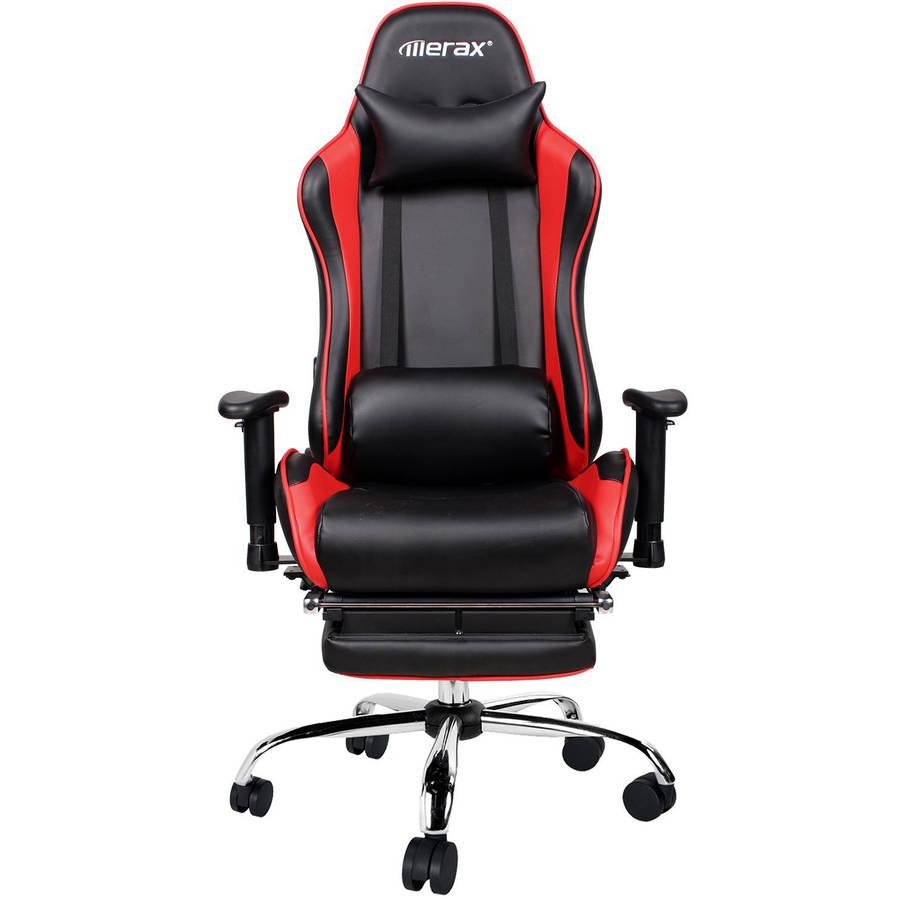 Merax Ergonomic Racing Gaming Chair with Adjustable Armrests High-Back PU Leather Chair with Footrest Home Office Chair