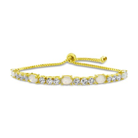 Lab Created Opal Bracelet (Lesa Michele Women's White Lab Created Opal Oval Shaped Tennis Style Adjustable Slider Chain Bracelet in Yellow Gold Plated)