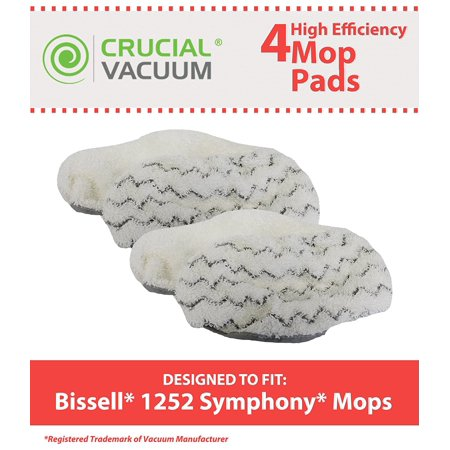 4 Highly Durable Washable & Reusable Pads for Bissel 1252 Symphony Hard Floor Vacuum & Steam Mop; Compare to Bissell Part No. 5938; Designed by Think Crucial By Crucial Vacuum