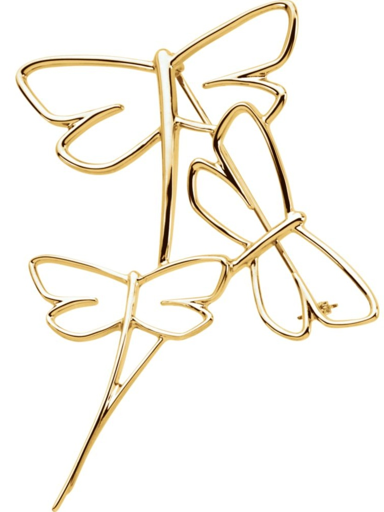 10k Yellow Gold Dragonfly Brooch by