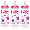 NUK Woodlands Baby Bottle with Perfect Fit Nipple, 10 oz, 3-Count , Medium Flow, Girl Design