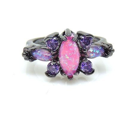 Logan Butterfly Design Pink Lab Created Fire Opal Purple CZ Ring - Ginger Lyne (Design Opal Ring)