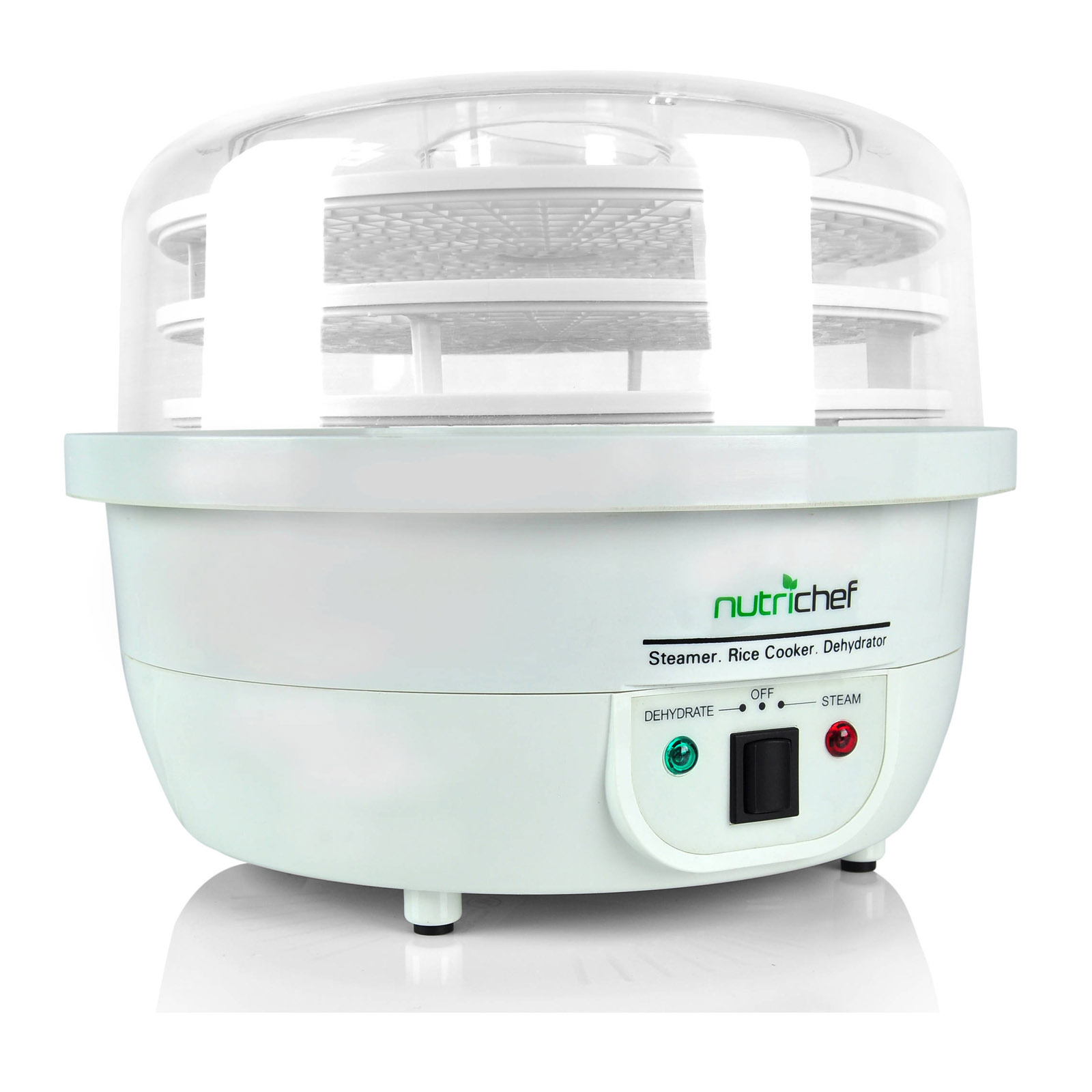 NutriChef 3-in-1 Dehydrator & Steamer Food Cooker - White
