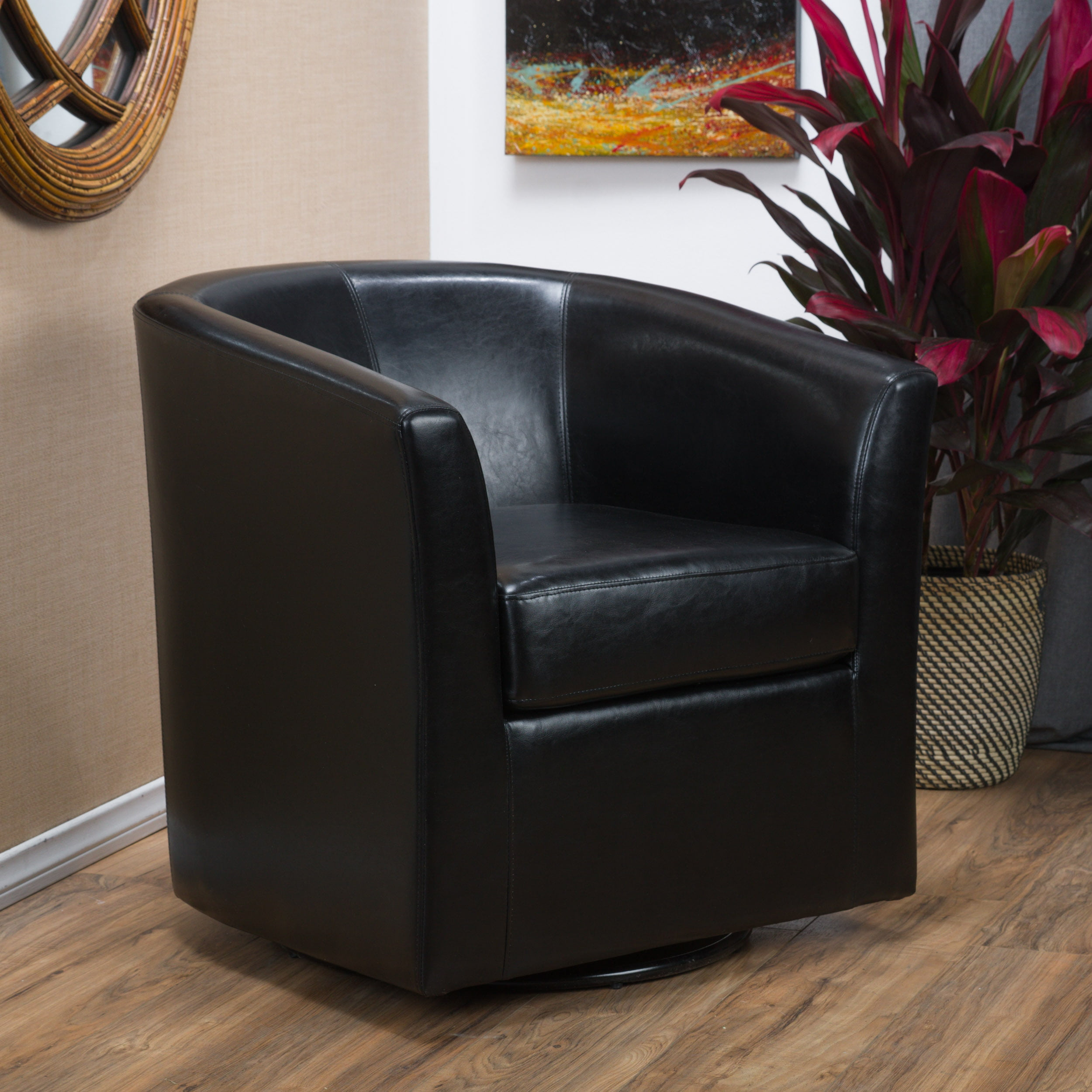 Picture of: Noble House Arden Black Bonded Leather Swivel Club Chair Walmart Com Walmart Com