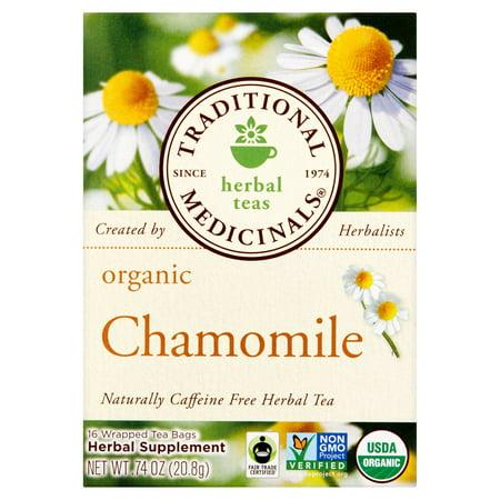 TRADITIONAL MEDICINALS Camomille Bio, 0,74 oz, 16 sachets de thé, 6 pack