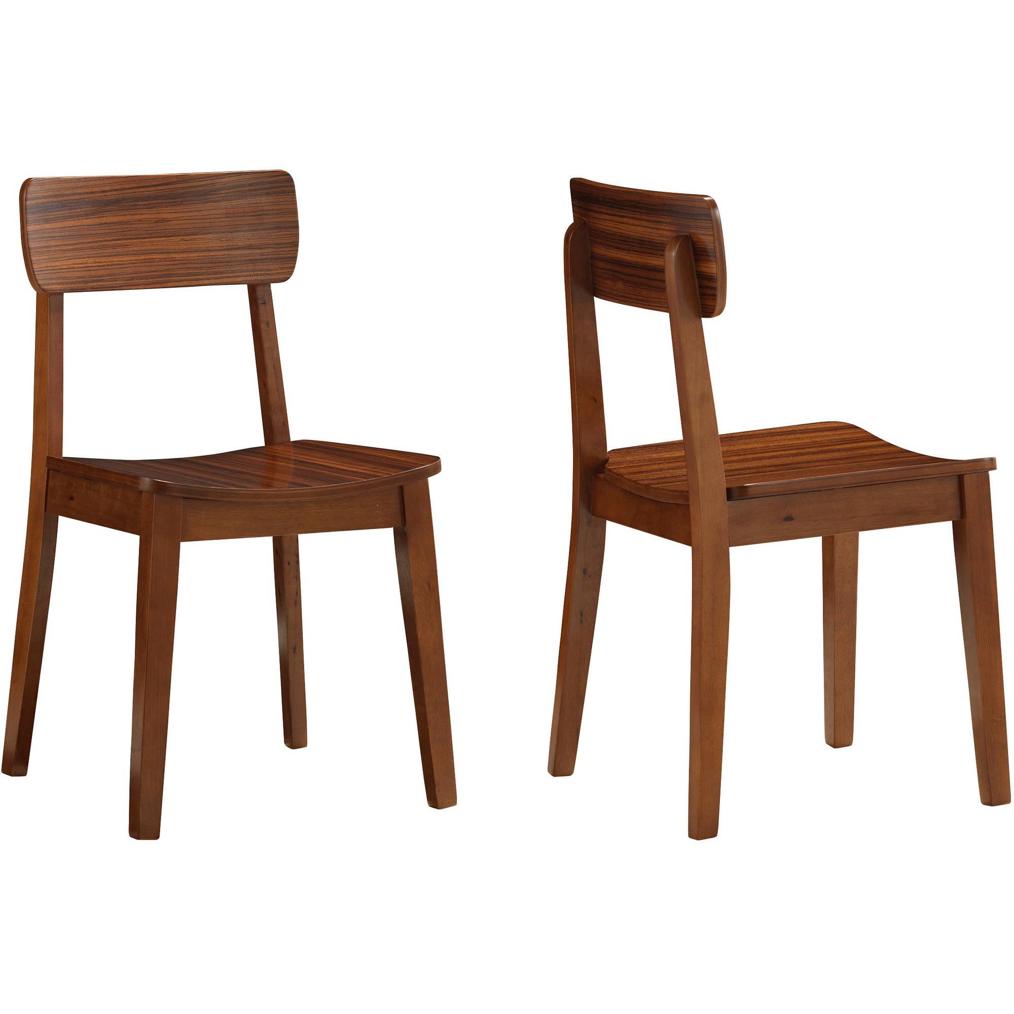 Boraam Zebra Series Hagen Dining Chairs, Set of 2, Walnut