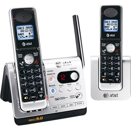 DECT 6.0 Digital 2-Handset Bluetooth Cordless Answering System, Titanium/Black