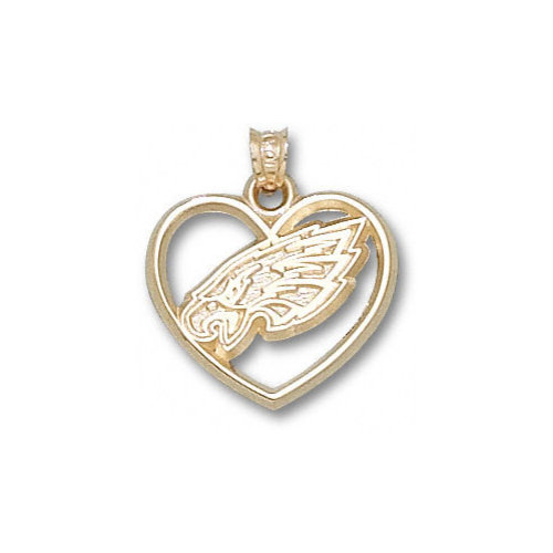 NFL - Philadelphia Eagles 10K Gold Eagle Head Logo Heart Pendant