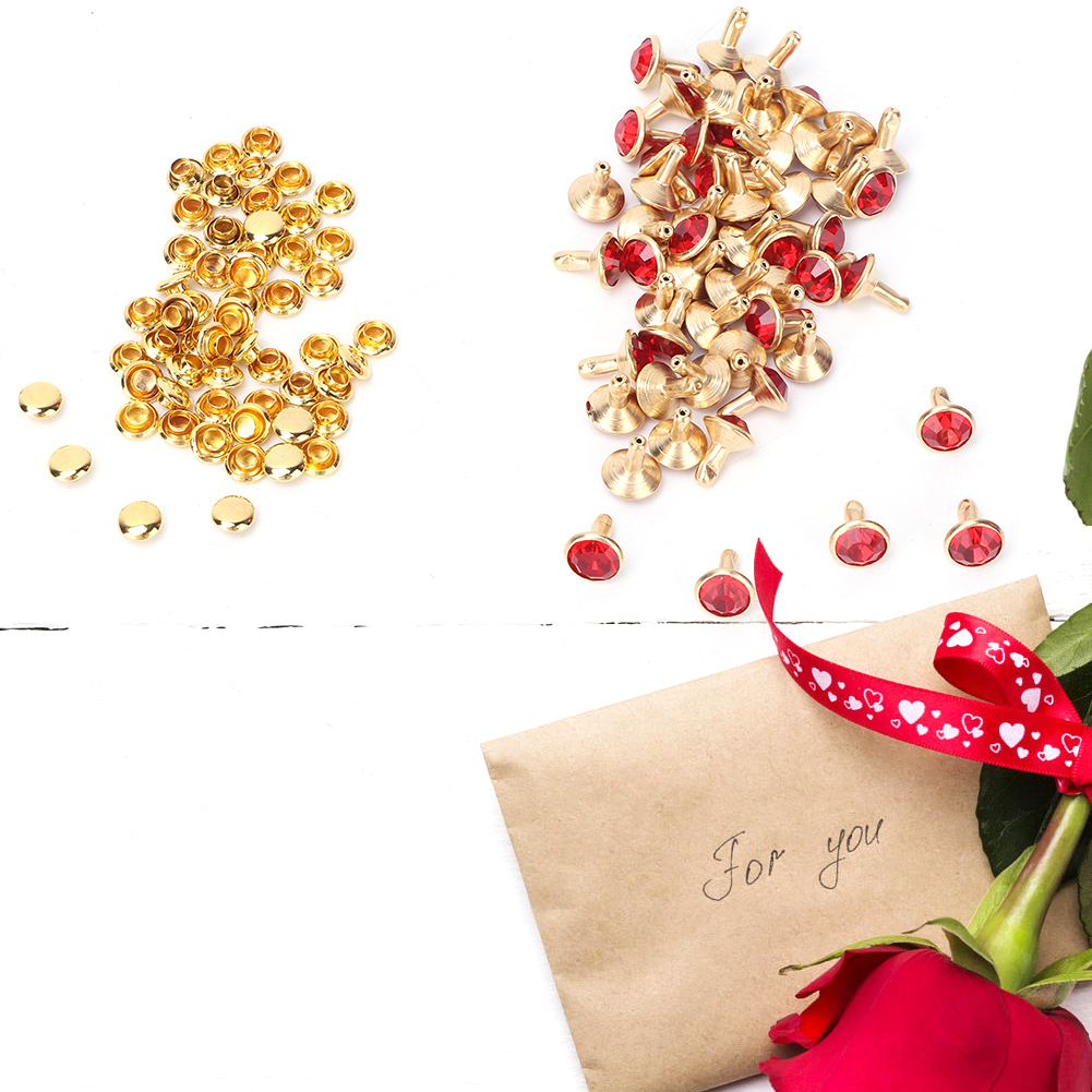 Yellow Crystal HEEPDD 50 Pcs 8mm Crystal Rivets DIY Fashion Rhinestone Nailhead Studs for DIY Leather-Craft