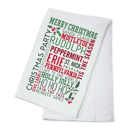 Erie, Pennsylvania - Christmas Typography - Lantern Press Artwork (100% Cotton Kitchen Towel) ()