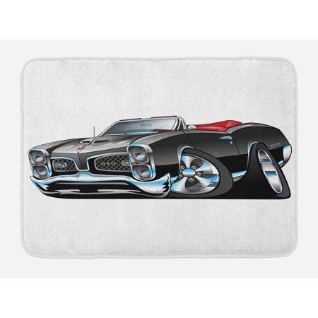 Muscle Car Decor (Cars Bath Mat, Fancy American Nostalgic Sports Muscle Car with Speeding Wheels Tires Symbol Print, Non-Slip Plush Mat Bathroom Kitchen Laundry Room Decor, 29.5 X 17.5 Inches, Pale Grey Blue,)