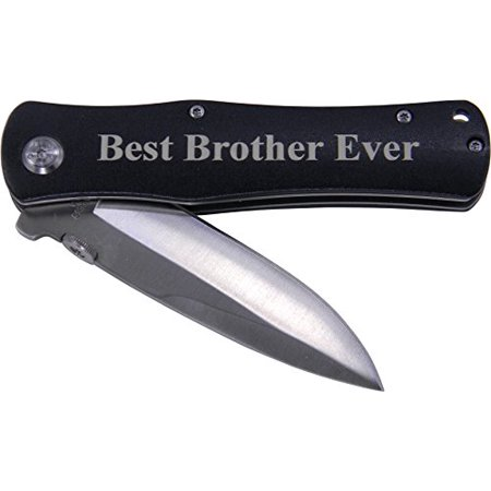 Best Brother Ever Folding Pocket Knife - Great Gift for Birthday, or Christmas Gift for a brother (Black