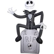 Gemmy Airblown Inflatable 5' X 3.5' Nightmare Before Christmas Jack Skellington On Tombstone Halloween Decoration