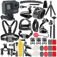 GoPro Hero 7 Black with 50 Piece Action Accessory Kit | Straps | Harnesses | Mounts | Adapters in One Bundle