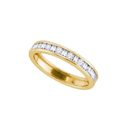 14kt Yellow Gold Womens Round Baguette Diamond Channel-set Wedding Band 1/4
