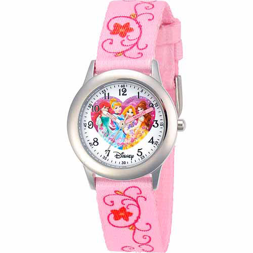 Disney Princess Girls' Stainless Steel Watch, Printed Strap