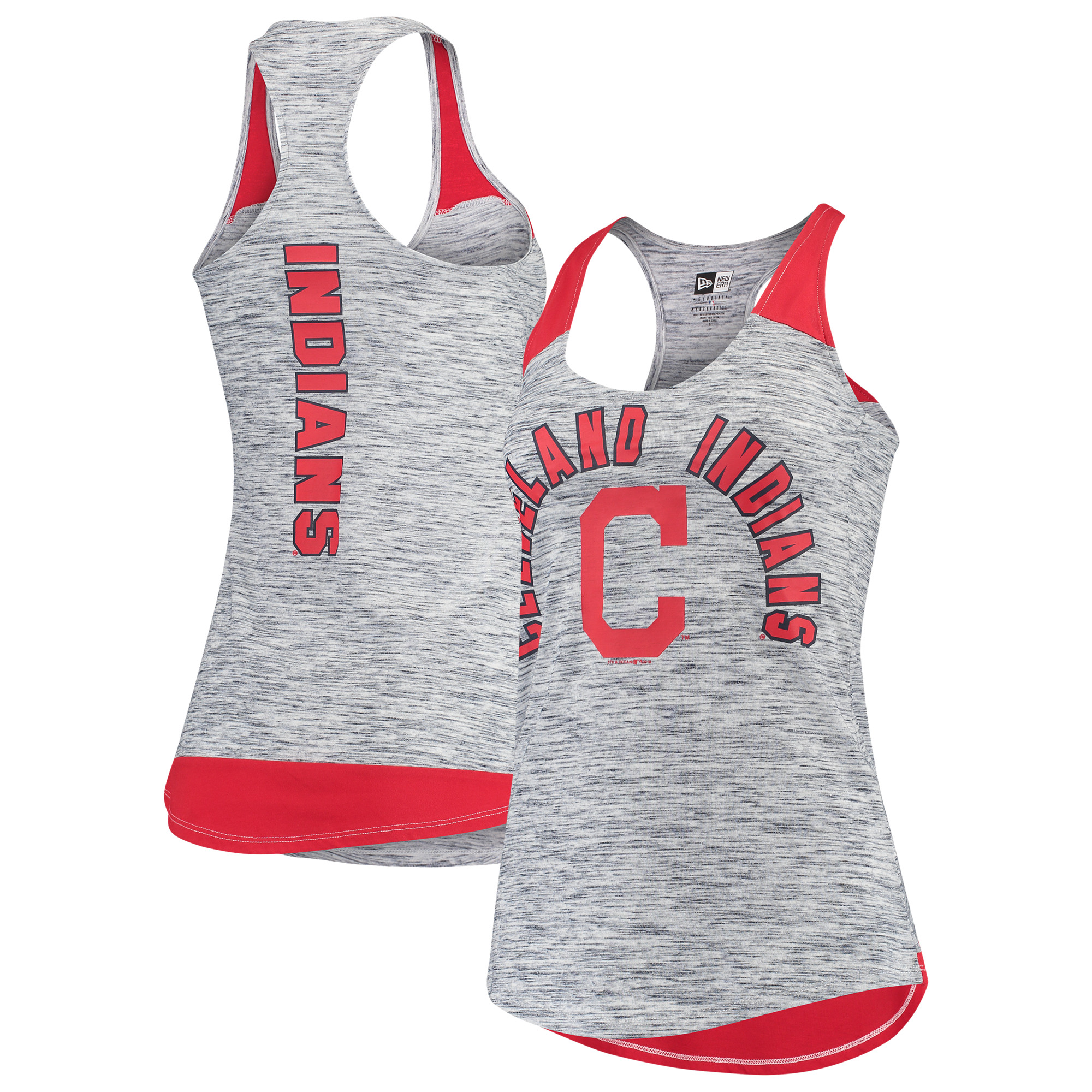 Cleveland Indians New Era Women's Space Dye Racerback Tank Top - Navy/Red
