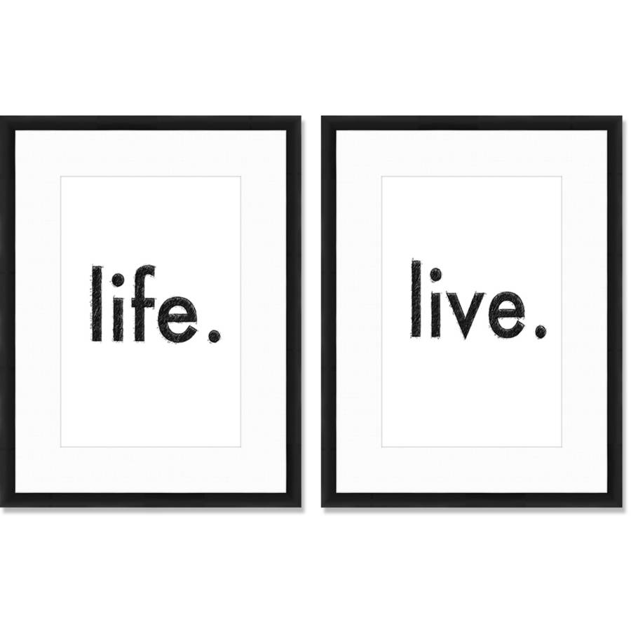"Life and Live 21"" x 27"" Wall Art, Set of 2"