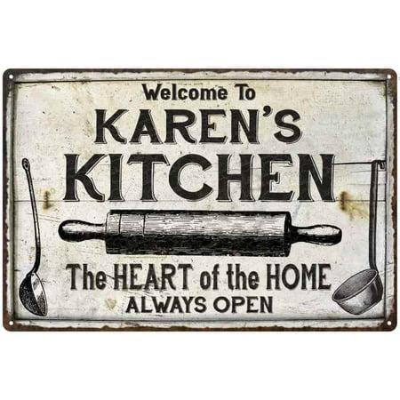 Karen Foster Metal Signs - KAREN'S Kitchen Farmhouse Sign Gift Personalized 8x12 Metal 108120033016