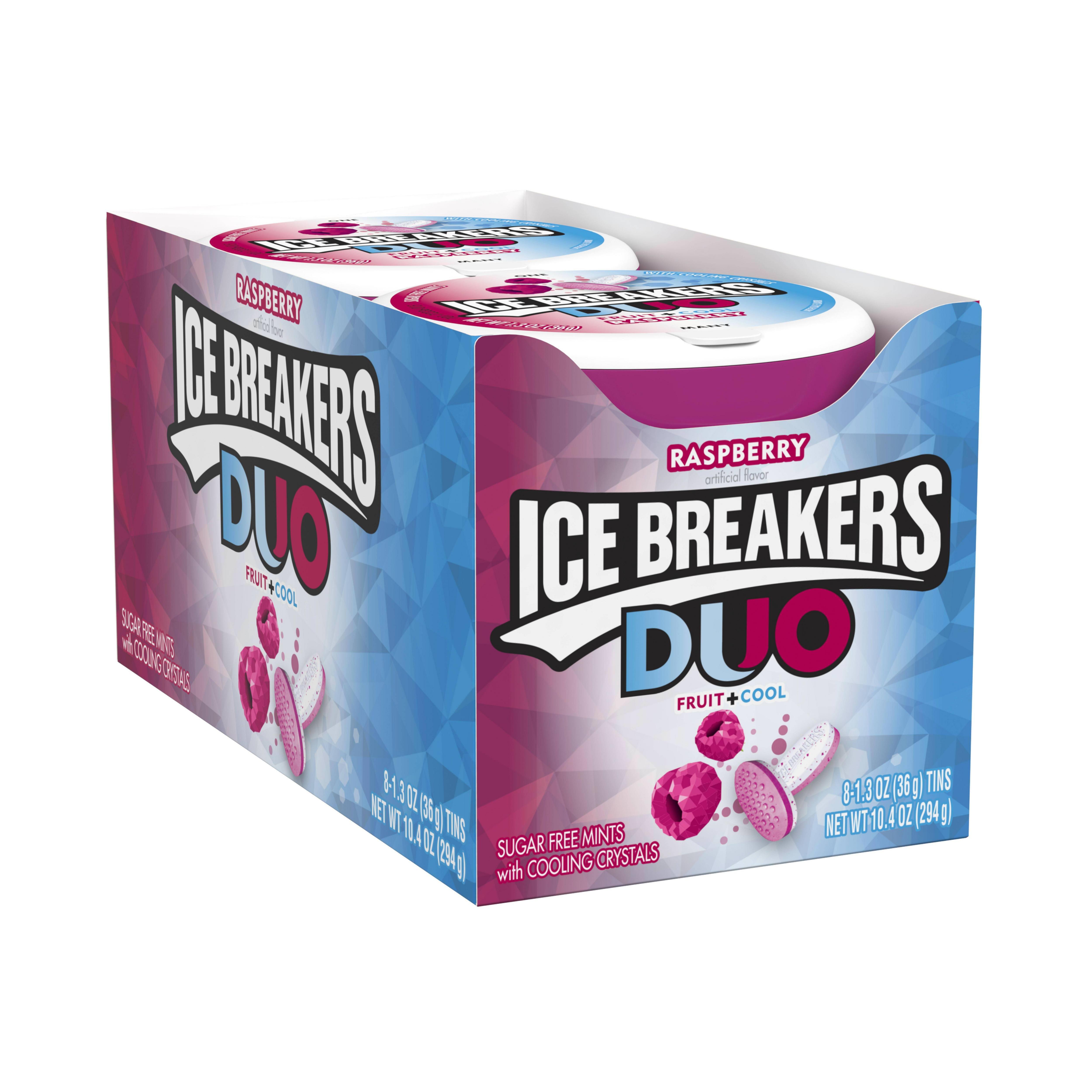 Ice Breakers, Sugar Free Duo Fruit & Cool Raspberry, 1.3 Oz, 8 Ct