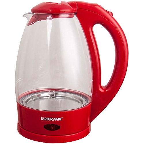 Farberware 1.7-Liter 360-Degree Glass Kettle, Red
