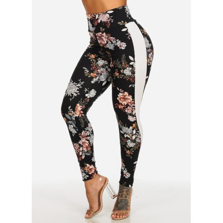 Womens Juniors High Waisted Black Floral Print Stretchy Leggings with White Stripe 40531K