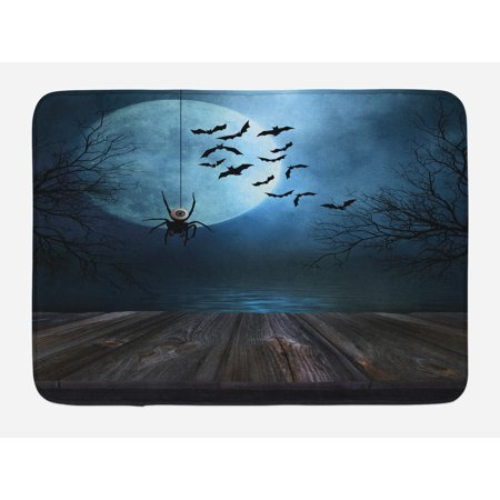 Halloween Bath Mat, Misty Lake Scene Rusty Wooden Deck Spider Eyeball and Bats with Ominous Skyline, Non-Slip Plush Mat Bathroom Kitchen Laundry Room Decor, 29.5 X 17.5 Inches, Blue Brown, Ambesonne