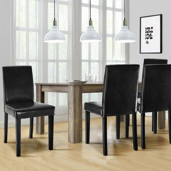 Elegant Dining Room Set Black: Costway Set Of 2 Black Elegant Design Leather Contemporary