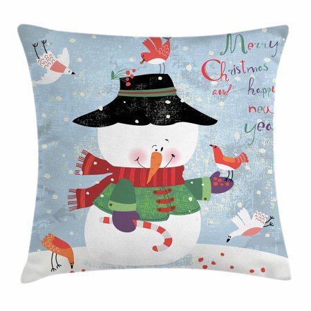 Snowman Throw Pillow Cushion Cover, Christmas and New Year Theme Lovely Snowman with Birds Candy Cane Grungy Backdrop, Decorative Square Accent Pillow Case, 18 X 18 Inches, Multicolor, by - Candy Cane Throw Pillow