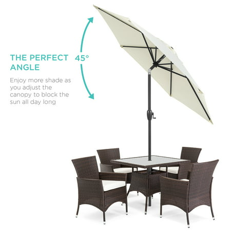 Best Choice Products 7.5ft Heavy-Duty Outdoor Market Patio Umbrella w/ Push Button Tilt, Easy Crank Lift - Cream