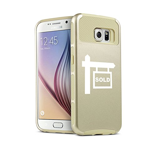 For Samsung Galaxy S7 Edge Shockproof Impact Hard Soft Case Cover Real Estate Agent Broker Realtor Sold (Gold)
