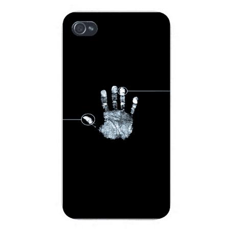 Apple Iphone Custom Case 4 4s White Plastic Snap on - Hand Print Fingerprint Circle Scanner on -
