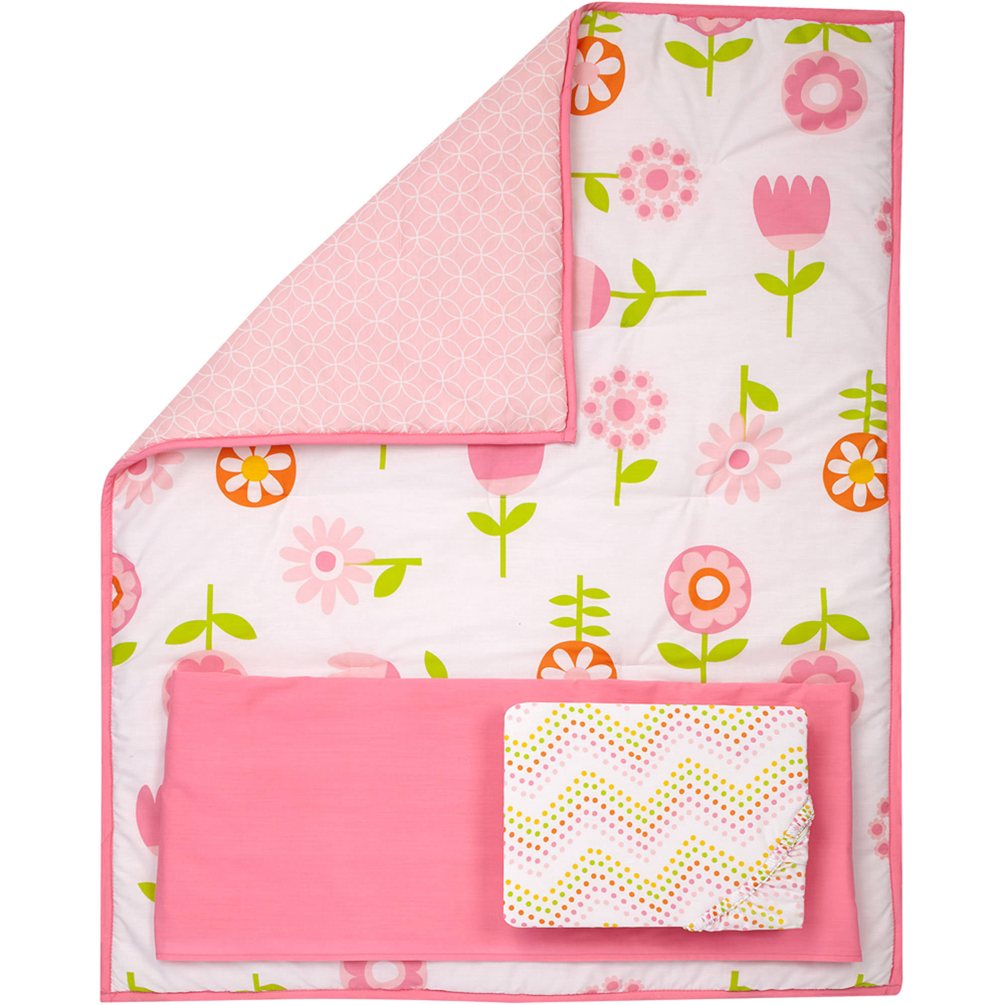 Little Bedding by Nojo Reversible Floral Fusion/Pink with Circles Print 3-Piece Crib Bedding Set