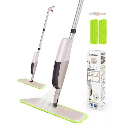 Hardwood Spray Mop for Floor Cleaning, CXhome Microfiber Mop for Tile Floors, Wet Dry Mop with Sprayer and 2 Mop Pads, 1 Refillable Bottle (Best Wet Dry Mop For Hardwood Floors)