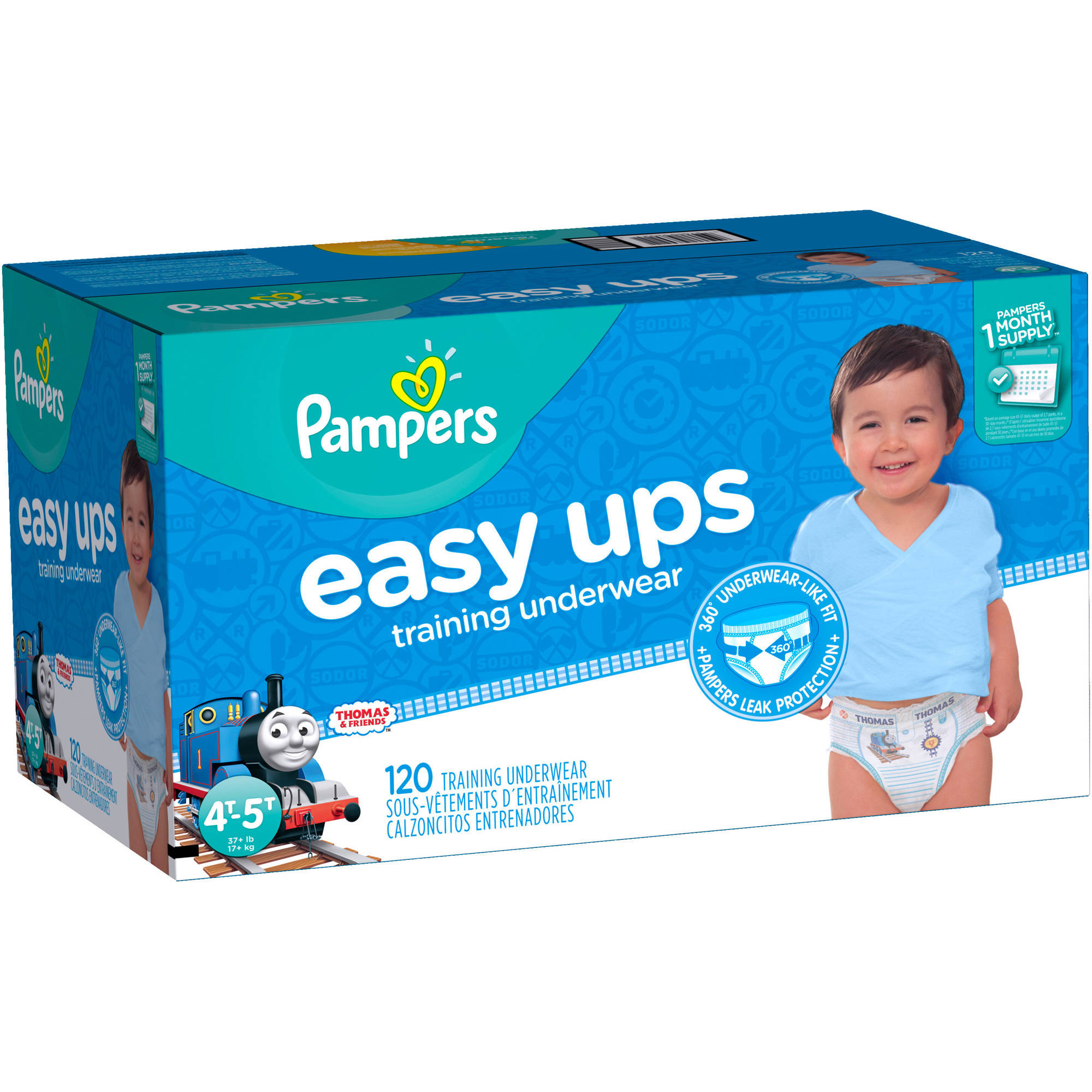 Pampers Easy Ups Boys Training Pants, Size 4T-5T (Choose Pant Count)