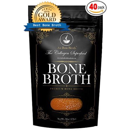 Healthy Bone Broth - Organic, Grassfed (Delicious Beef/Chicken/Turkey Blend) Frozen 32oz Bags, 40 Count (30 day supply/5 cups per day) Soup Broth Not Powder, Slow Simmered, Pasture Raised, Non-GMO Scotch Broth Soup