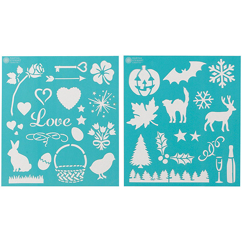 "Martha Stewart Medium Stencils 2 Sheets/pkg, Holiday Icons 8-3/4""x9-3/4"", 37 Designs"