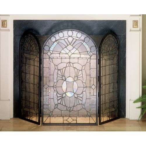 Meyda Tiffany 48104 Stained Glass / Tiffany Fireplace Screen from the Classic FireScreen with Beveled Accents Collection