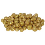 "60ct Gold Sequin and Glitter Christmas Ball Decorations 0.8"" - 1.25"""