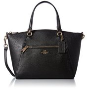 coach women's pebbled prairie satchel li black handbag by