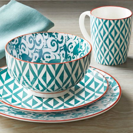 Better homes and gardens piers teal mix and match 16 piece - Better homes and gardens dish sets ...