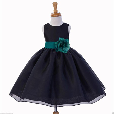 Ekidsbridal Satin Bodice Black Flower Girl Dress Organza Skirt Junior Bridesmaid Wedding Pageant Toddler Recital Easter Holiday Communion Baptism Special Occasions Formal Events 841S